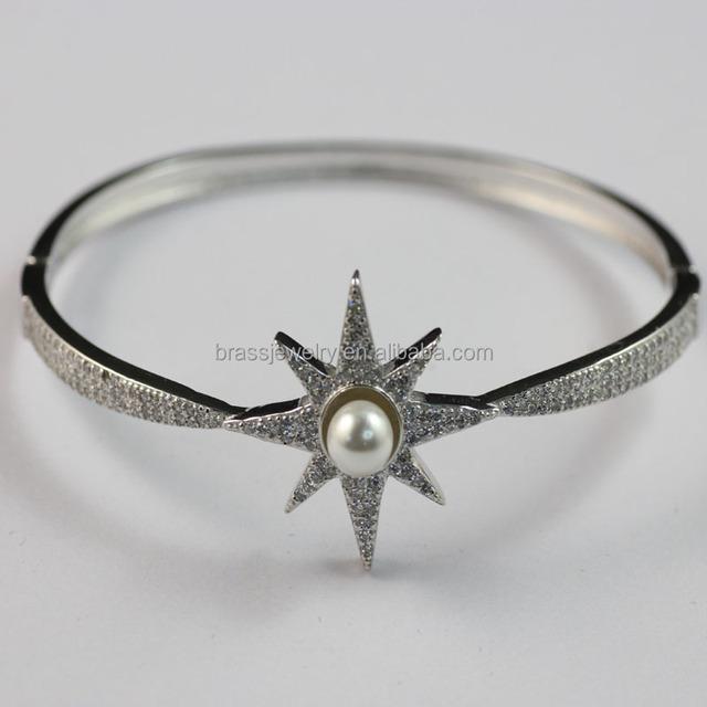 Rhodium Plating Sun Flower Shape Micro Zircon Pave Setting Pearl Beads Bangle Bracelet