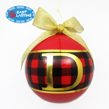 Classic style personalized monogram decal glass Christmas ball ornament with ribbon