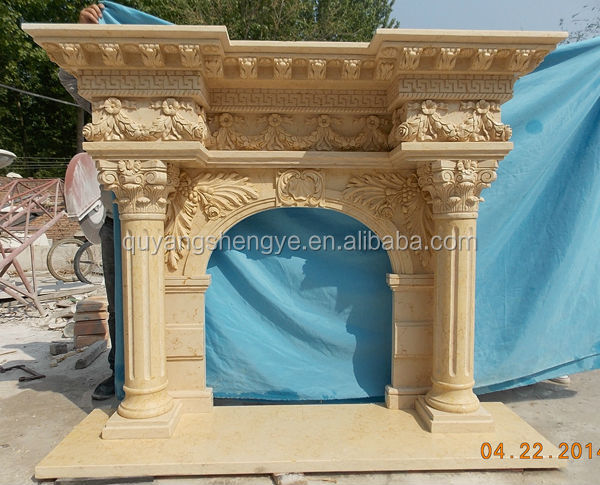 Antique Freestanding Stone Fireplace Surround