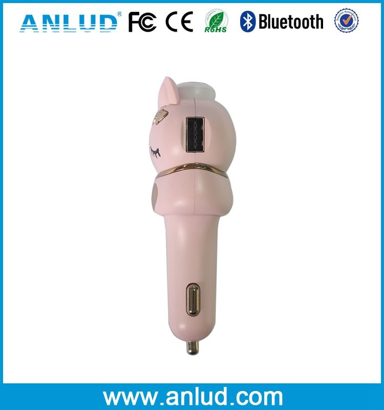 ALD50A Cartoon design 2 in 1 Invisible Super Mini Car Charger with Bluetooth Earbuds