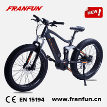 Franfun 26 inch frame Suspension fatbike electric bike mid drive motor 7 speed RD-ACERA-360 gears