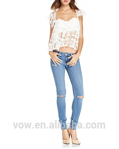 High waist women ripped jeans pants ,scratch long jeans wholesale direct factory