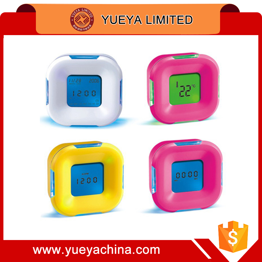 all sides displaying colorful table clock four sided cute digital clock