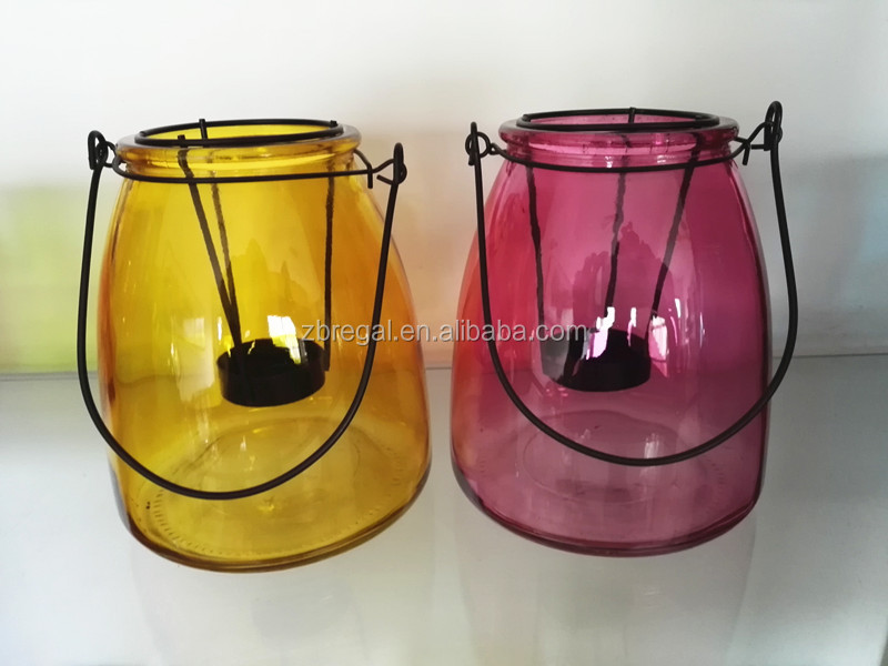 Hanging Glass Hurricane lantern, glass candle holder