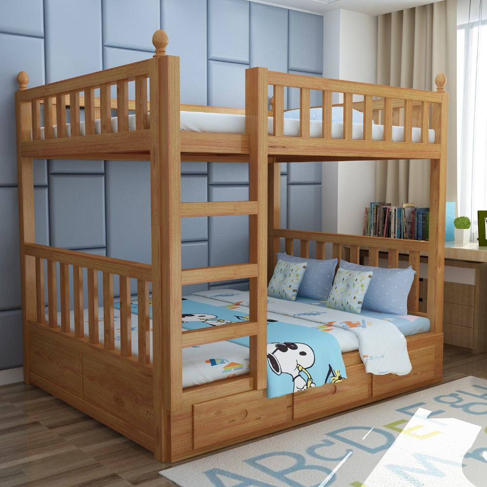 SG0266 Cheap solid pine Brown color ladder bunk beds with Mattresses