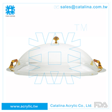 Luxury Crystal Gold Design Acrylic Food Wedding Buffet Serving Tray with Cover