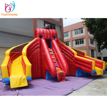 Cheap Double water park slides/commercial red inflatable slide for sale