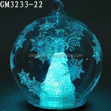 LED Hand Painted Clear Christmas Ball with Angel Inside