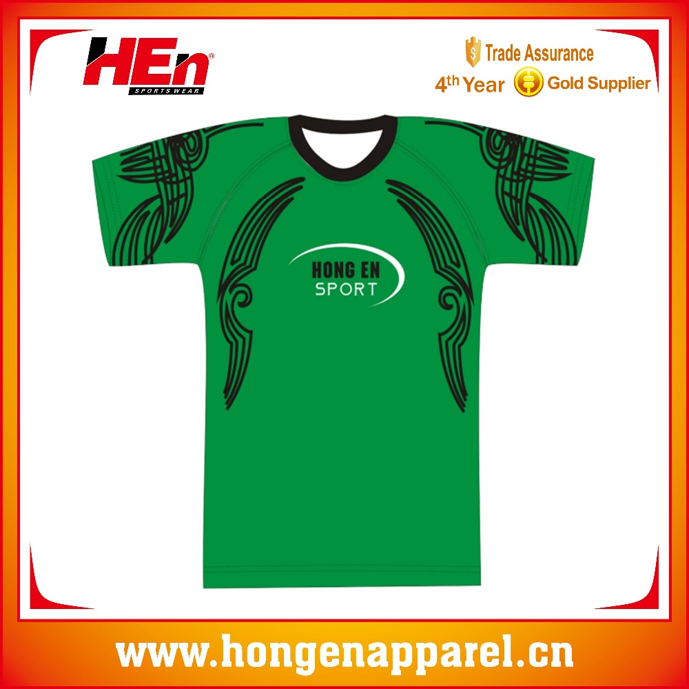 Hongen apparel New design all digital printing rugby league jerseys with black and other color
