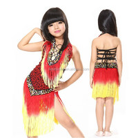 Bestdance OEM Sexy Leopard Children Latin Dance Dress Samba Salsa Dresses Dance Costumes Skirt red