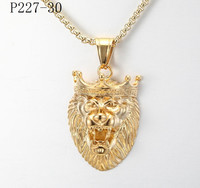 China supplier high quality engraveable stainless steel gold lion pendant