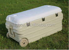 160L large capacity plastic camping cooler box with high quality ,with wheels