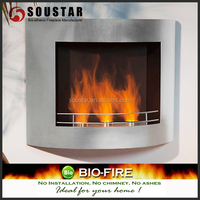 wall mounted ethanol fireplace front