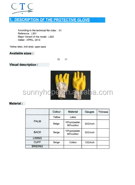 knit wrist yellow rubber latex Work Gloves