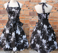 black halter flock tattoo rockabilly prom party cocktail dress UK8-24