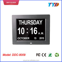 8 inch auto dimming led auto flip calendar clock with Non-Abbreviated Day & Month
