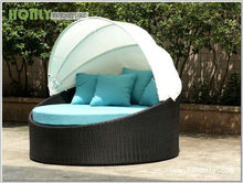 Garden patio PE rattan furniture leisure outdoor round rattan bed