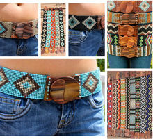 HOT SALE Mesmerizing Multi Glass Beaded, Wooden Buckle Stretch Belt