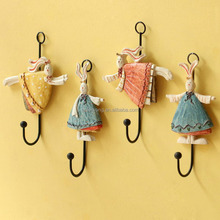 Home Decorative Cute Rabbit Design Keys Coat Hat Resin Wall Hooks