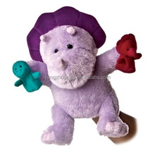 plush hippo cartoon character hand puppet toy