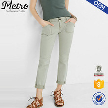 Manufacture Cotton Patch Pocket Pant Women