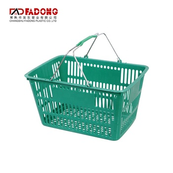 Modern high quality customized logo supermarket plastic basket color convenience store shopping basket