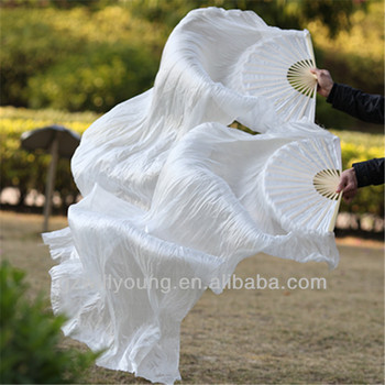 Belly dance 100% real silk fan veils, 1.8M long, silk veils, WHITE