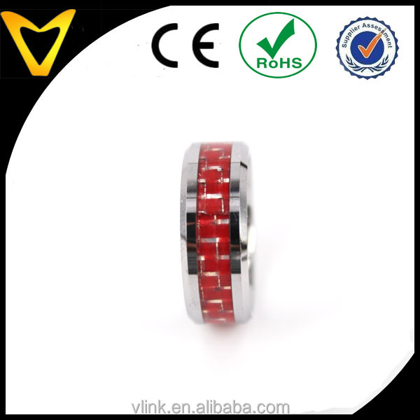 Grils wedding finger ring design with beautiful red carbon fiber inlay beautiful women ring