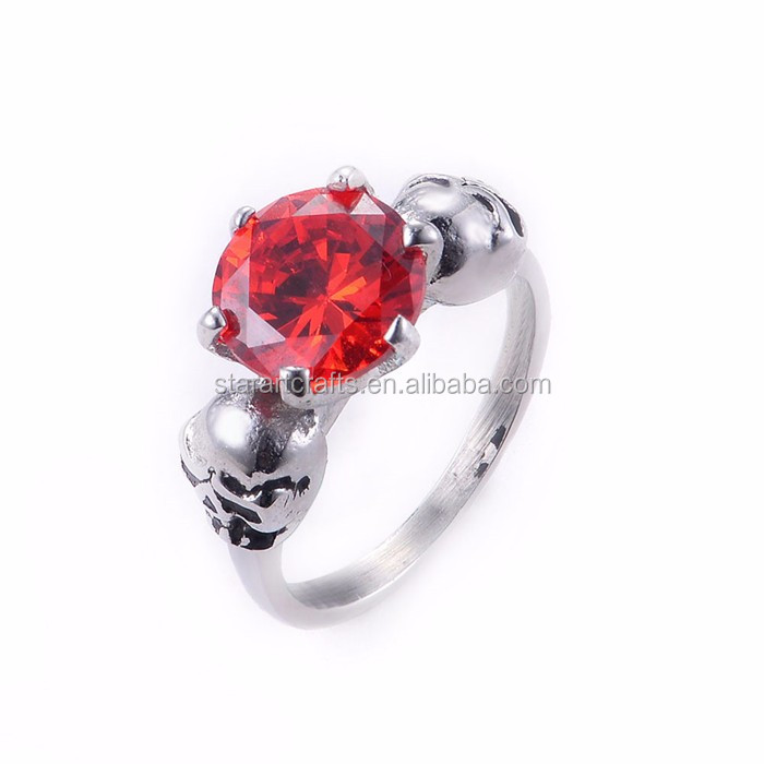 Top Quality stainless steel ring Popular Titanium Ring Skull Ring Pink Red Stone Ring SRA183