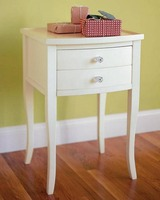 Wooden Classic White Two Drawer Small End Table