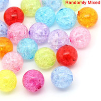 30PCs At Random Crackle Acrylic Round Spacer Beads 20mm Dia.