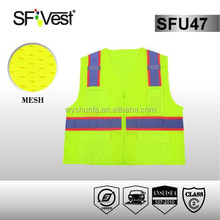 2015 new design safety vest construction with 100% polyester mesh with solidmtricot pocket , ANSI/ISEA 107-2010 CLASS 2