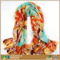 Soft warm 100% wool hand painted chinese style colorful sugarbush painting pure mongolian cashmere scarf for women