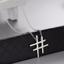 Unicode sign shaped pure silver pendant cable chain necklace patterns