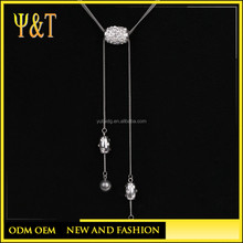 Fashion 316 stainless steel jewelry crystal beads tassel charms long chain necklace