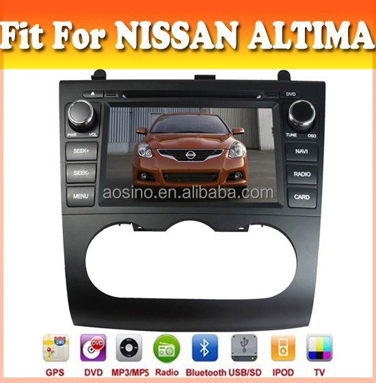 Touch sreen car dvd player with GPS navigation fit for Altima 2007-2014 with audio radio bluetooth ipod tv and two panel