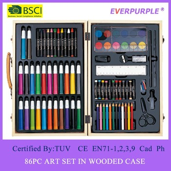 86PC Aer Set,Wooden Packing Art Set,Art Set For Kids
