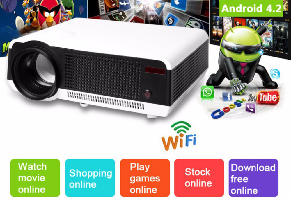 Android Projector LED86+ Built-in WiFi 2800 Lumens Home Theater 1280x800 1080P HD 3D Video