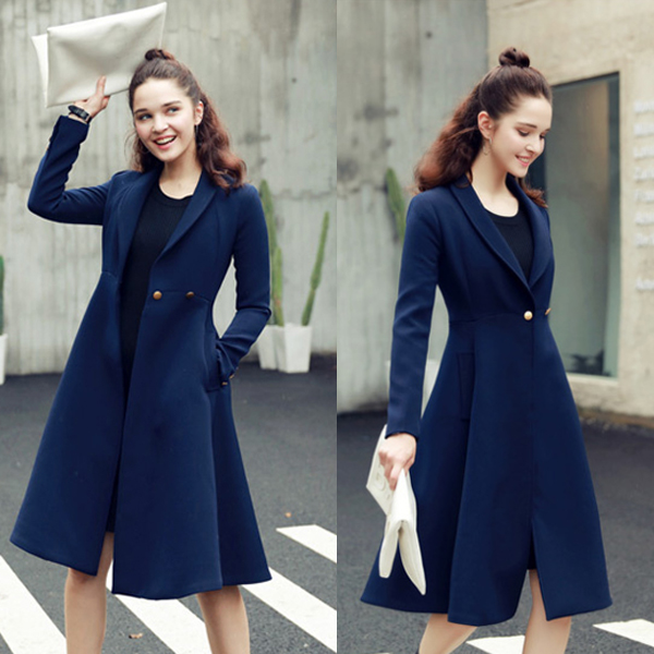 High quality elegant name brand winter long trench coats for woman
