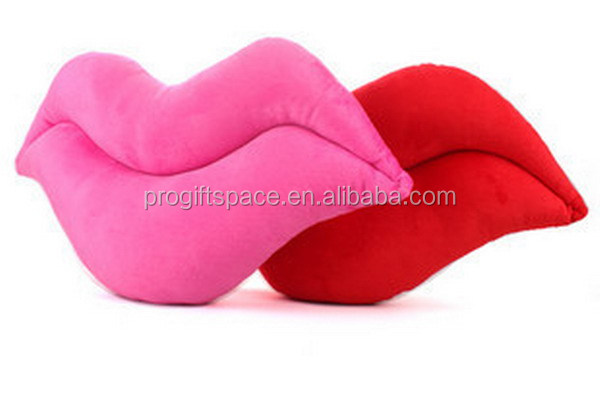 New products custom shaped funny two-sided Lip bolster cushion home decor head love bride pillow made in china