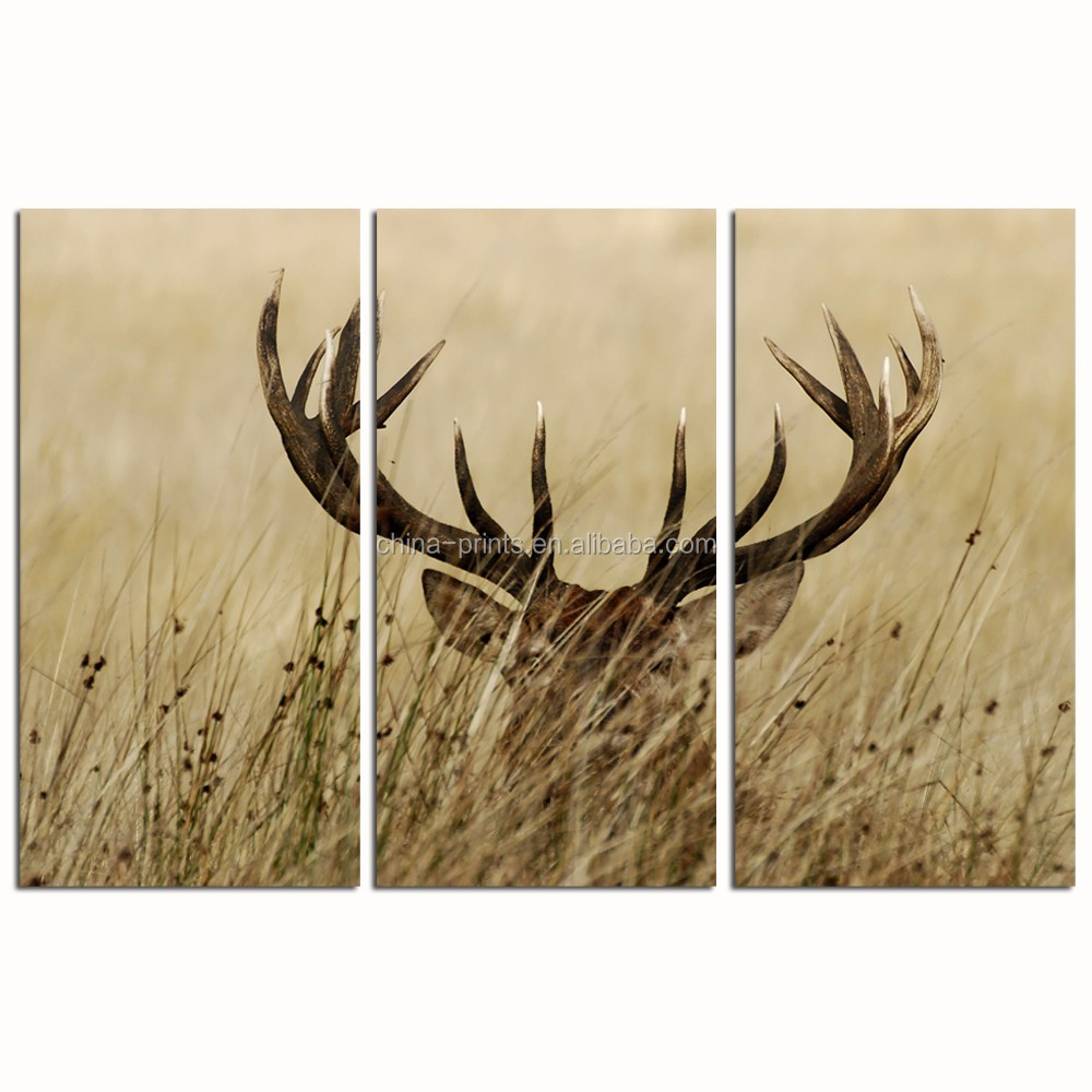 3 Panel Wall Decor Deer Stag Wall Art/Home Decor Decoration Animal Pictures/Bushes Landscape Painting Print