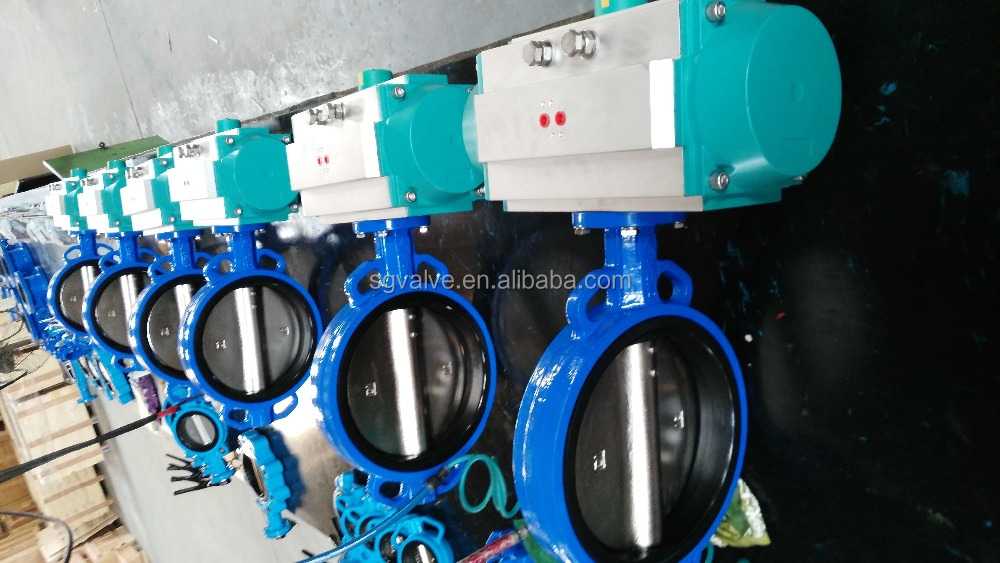 Pneumatic operated soft seal butterfly valve