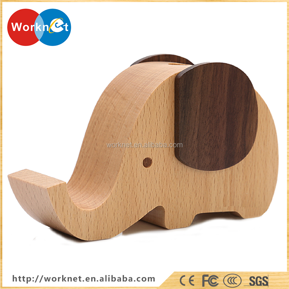 2016 new fashion design office desk home table portable universal holder wooden phone stand for iphone