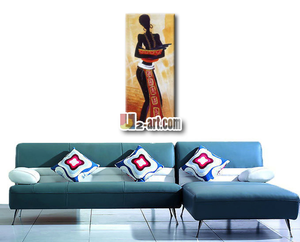 Wholesale modern abstract African woman painting for living room