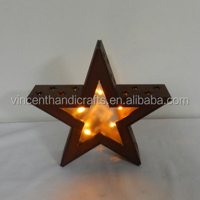 Antique primitive burgundy wooden 3D star with LED string light for Christmas, holiday, home and garden decoration