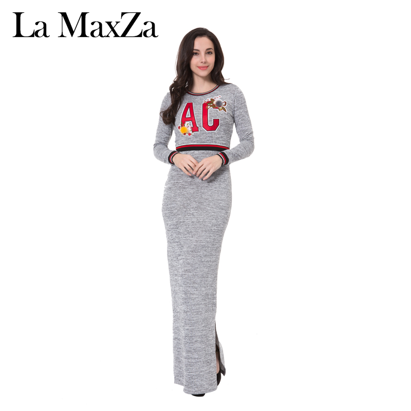La MaxZa New Arrival 2018 Letter Printed Split Model Casual Long Dresses