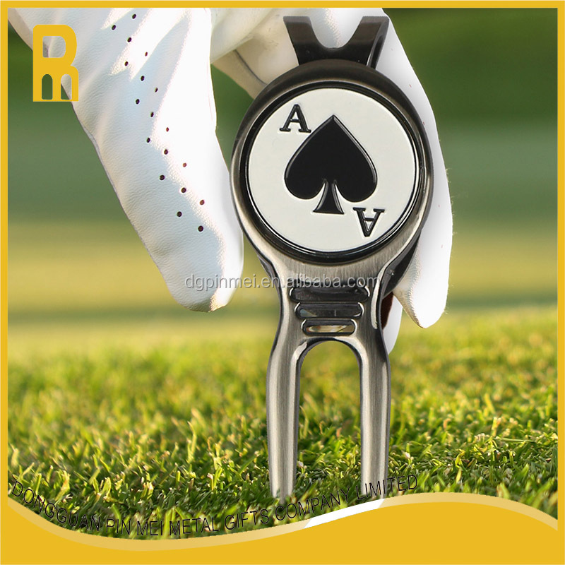 Custom golf tee divot tool with ball marker