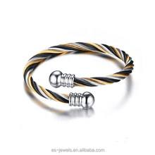 B002 Hotsale Raw Stainless Steel Twist Cable Cuff Bangle New Open End Bracelet