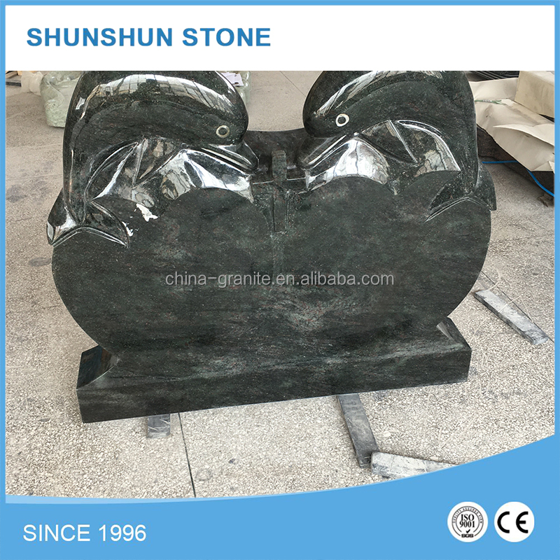 Factory Supply Dolphin Statue Natural Granite Tombstones