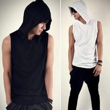 Z70185M Europea Summer gentle cotton hooded sleeveless MAN'S T-SHIRT